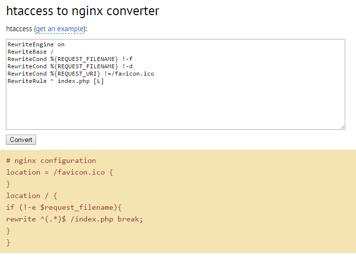 htaccess rules to nginx converter